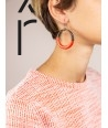Orange lacquered thin ring earrings