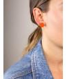 Boucles d'oreilles pastille laquée orange et gris-bleu