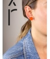 Orange and gray-blue lacquered pastille earrings
