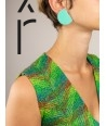 """Rayon"""" earrings in blond horn and mint lacquer"""""""