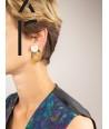 Boucles d'oreilles 2 parties ovales en laiton et pendant en corne blonde africaine