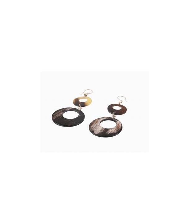 Boucles d'oreilles double-disques percés en corne noire marbrée