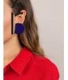 """Boucles d'oreilles """"Rayon"""" en corne blonde et laque violet"""