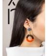 Boucles d'oreilles anneau large laqué orange et gris-bleu