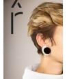 Boucles d'oreilles Terrasse en corne blonde et noire