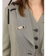Stone & brass Cartouche brooch