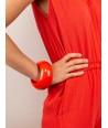 Round orange lacquered wood bracelet size M