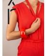 Bracelet rond bois laqué taille L orange