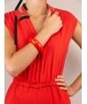 Bracelet rond bois laqué taille S orange