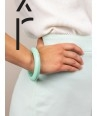 Round mint green lacquered wood bracelet size XS