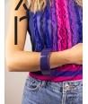 Bracelet rond bord droit bois laqué taille L violette