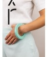 Round green mint lacquered bracelet with straight edge size S
