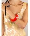 Bracelet rond bord droit bois laqué taille S orange