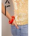 Bracelet rond bord droit bois laqué taille XS orange