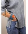 Manchette laquée bicolore orange et gris-bleu