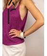 Bracelet Bandeau large en corne blonde et laque violet
