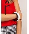 Black inside & white outside lacquered Saturne wood bracelet in Size S
