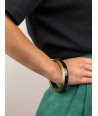 Brass and black lacquered wood bracelet in Size S