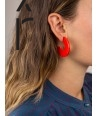 """Onde"""" earrings in blond horn and orange lacquer"""""""