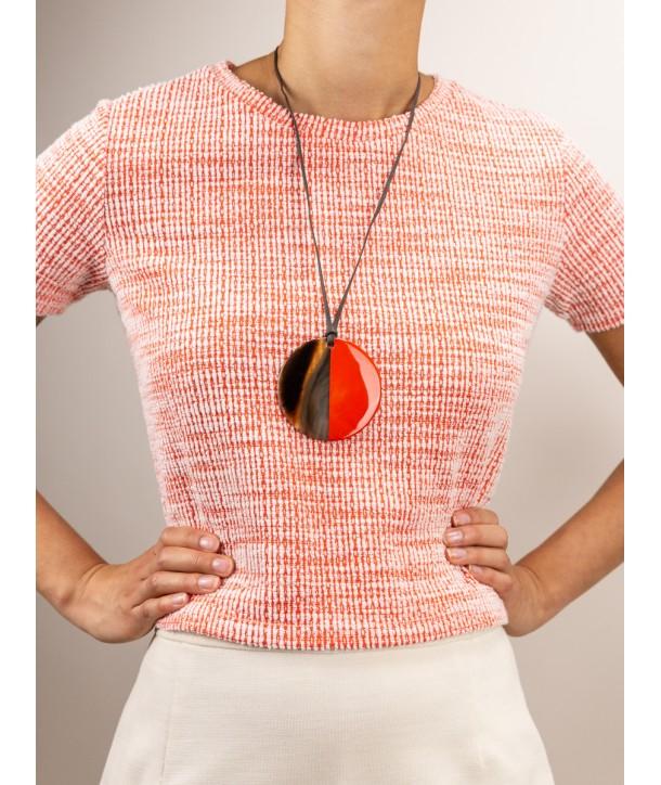 Pendentif disque laqué orange