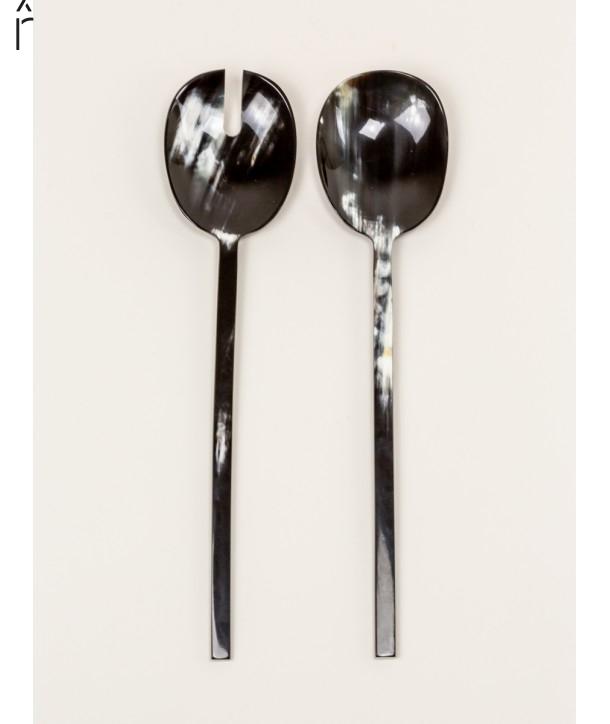 "Baguette"" marbled black horn long cutlery"""