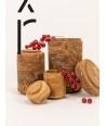 Set 3 boîtes rondes avec couvercle en Cannelle naturelle