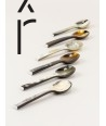 "Set of 6 Baguette"" teaspoons in marbled black horn"""