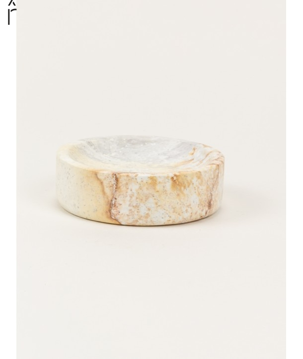 Small wide round box in stone with natural stone lid