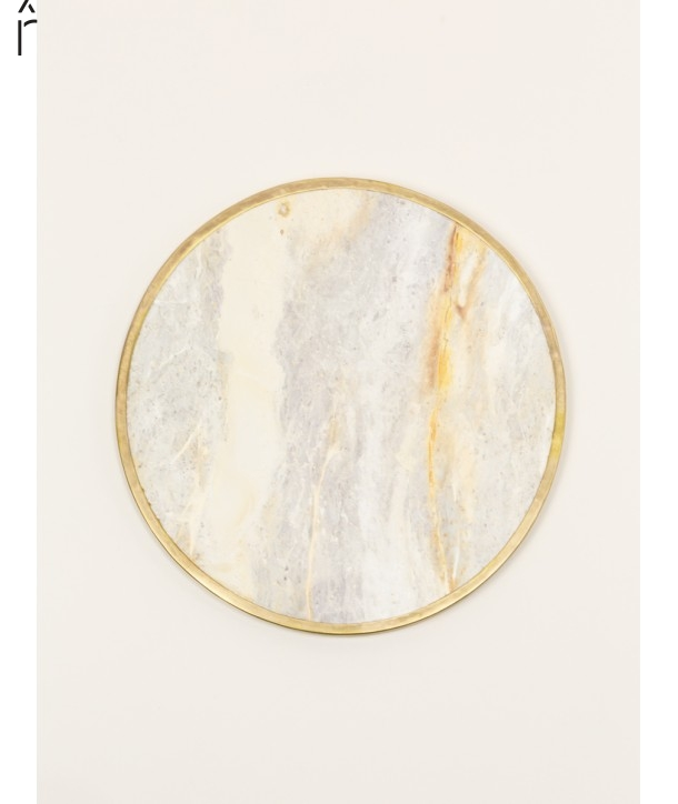Natural stone round tablemat with brass edges