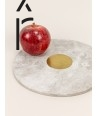 Natural stone round tablemat with brass center