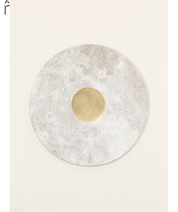Dessous de plat rond insert laiton en pierre naturelle et laiton