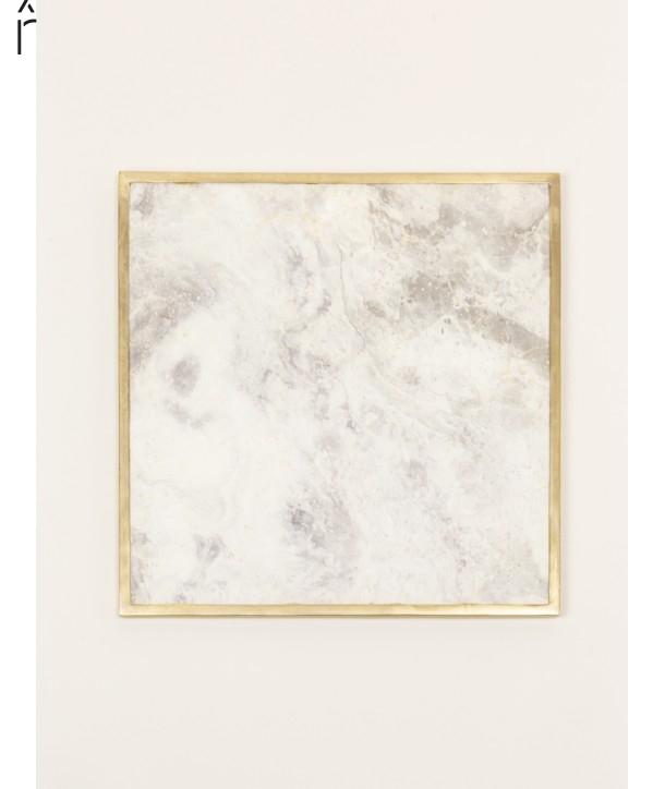 Dessous de plat carré liseré laiton en pierre naturelle et laiton