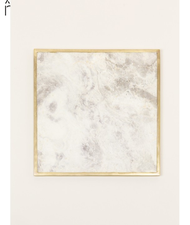 Natural stone square tablemat with brass edges