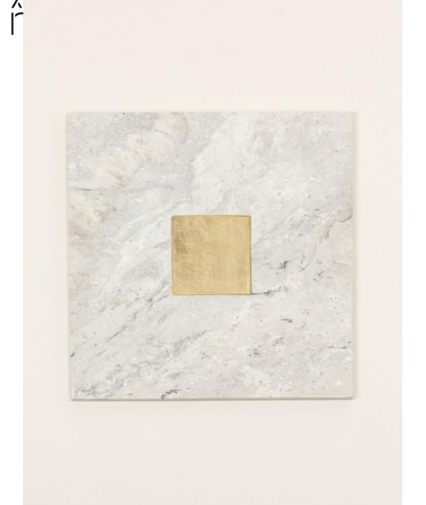Dessous de plat carré insert laiton en pierre naturelle et laiton