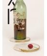 Set de 2 dessous de bouteille rond demi liseré laiton en pierre naturelle et laiton