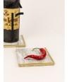 Set de 2 dessous de bouteille carré demi liseré laiton en pierre naturelle et laiton