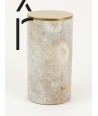 Very long narrow cylindrical box in stone with coppery brass coated lid