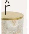 Très grande boîte cylindrique étroite couvercle serti laiton cuivré