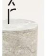 Très grande boîte cylindrique étroite couvercle pierre naturelle
