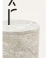 Very long narrow cylindrical box in stone with natural stone lid