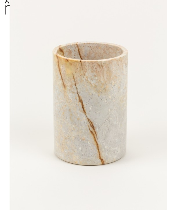 Medium narrow cylindrical vase in stone without lid