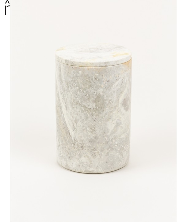 Long narrow cylindrical box in stone with natural stone lid