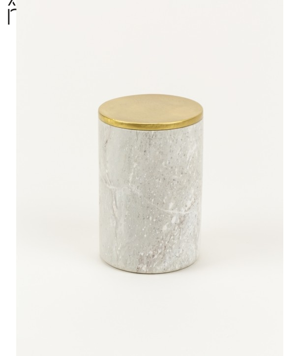 Medium cylindrical box in stone with coppery brass coated lid