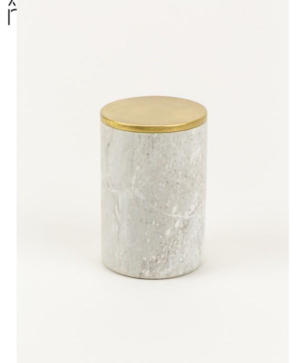 Moyenne boîte cylindrique étroite en pierre et couvercle serti laiton cuivré