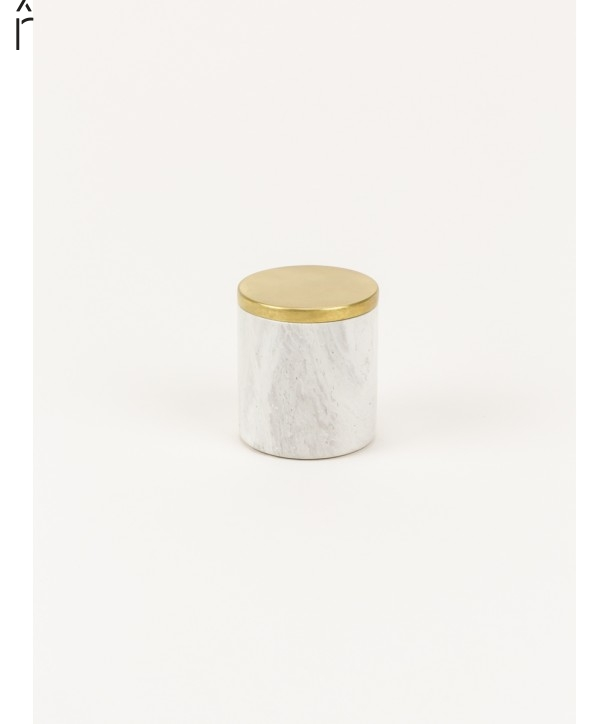 Small cylindrical box in stone with coppery brass coated lid