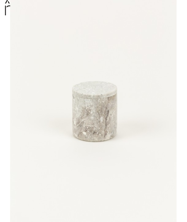 Small cylindrical box in stone with natural stone lid