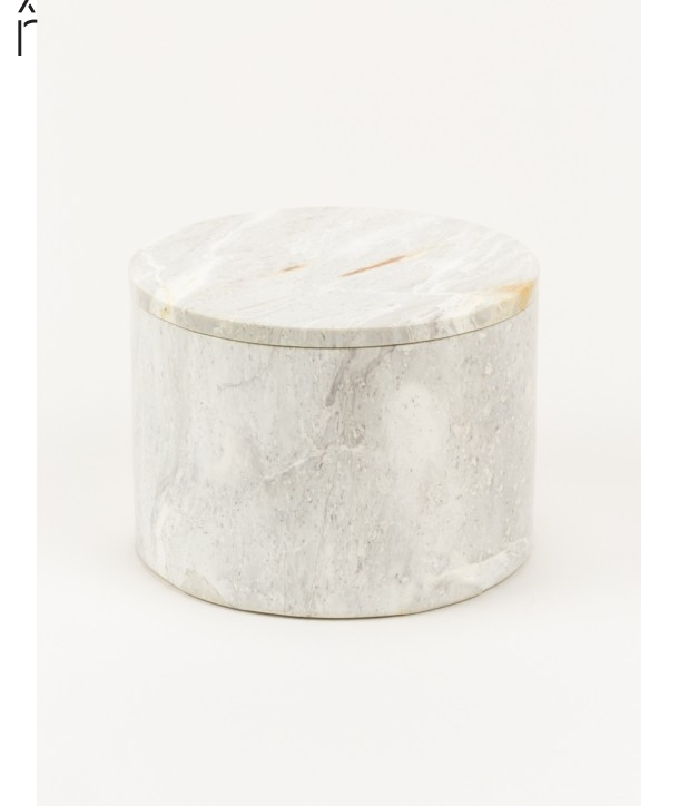 Large wide round box in stone with natural stone lid
