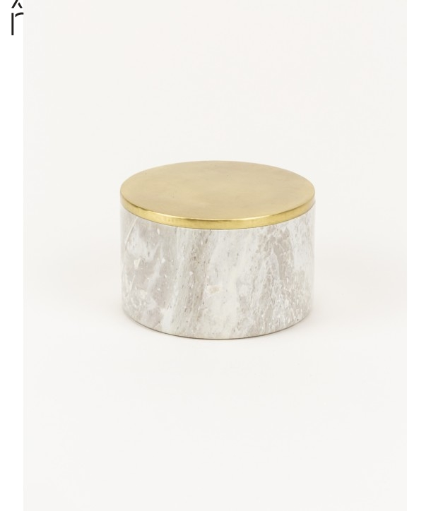 Medium wide round box in stone with coppery brass coated lid