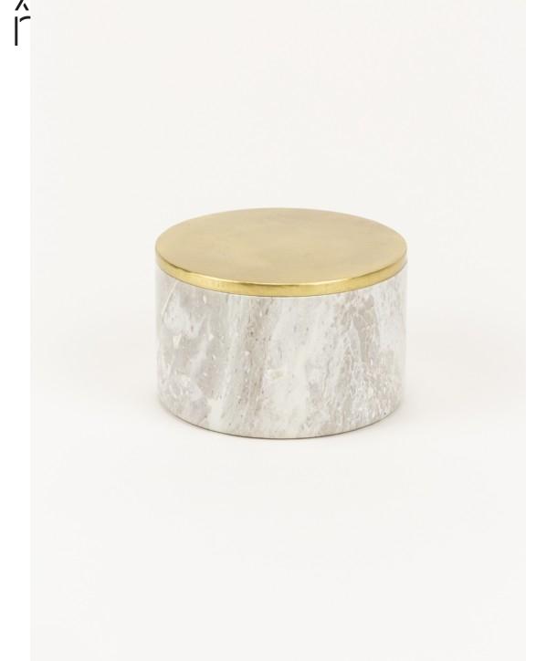 Moyenne boîte ronde large couvercle serti laiton cuivré