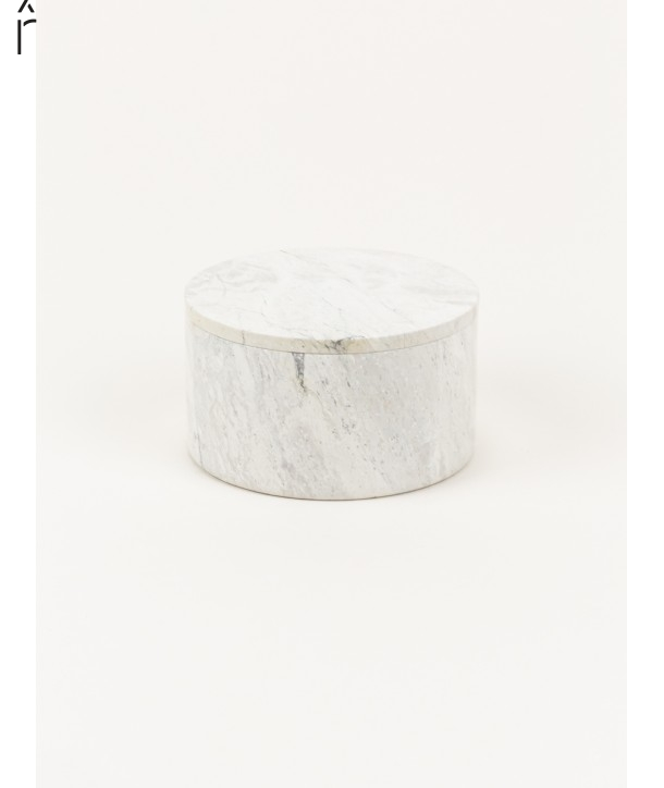 Medium wide round box in stone with natural stone lid